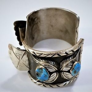 Vintage Sterling Turquoise Navajo Watch Cuff